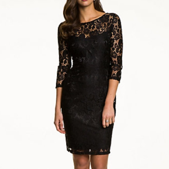 Le Chateau Black Lace Scoop Back Long Sleeve Dress